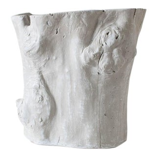 2010s Traditional Light Grey Resin Tree Hollow Planter