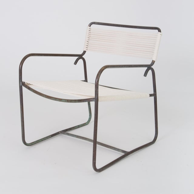 Bronze Single Walter Lamb Patio Lounge Chair and Ottoman Set For Sale - Image 7 of 13