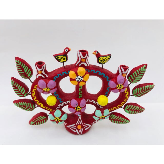 """Stunning Vintage Mexican """"Tree of Life"""" Clay / Ceramic Pottery Candle Holder. Castillo Style (of Izucar de Matamoros,..."""