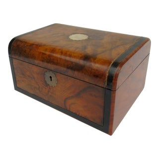 Late !9th. Century English Burl Wood & Brass Hinged Gentleman's Valet, Lidded Box For Sale