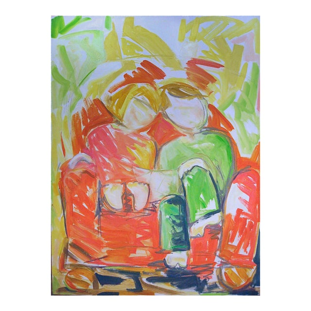"""Large Abstract Oil Painting by Trixie Pitts """"Bedtime Story"""" For Sale"""