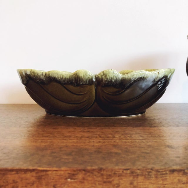 "Vintage dark to light green ceramic planters by Hull USA. A gorgeous set; circa 1960s. Round planter: 5.5"" wide x 5.75""..."