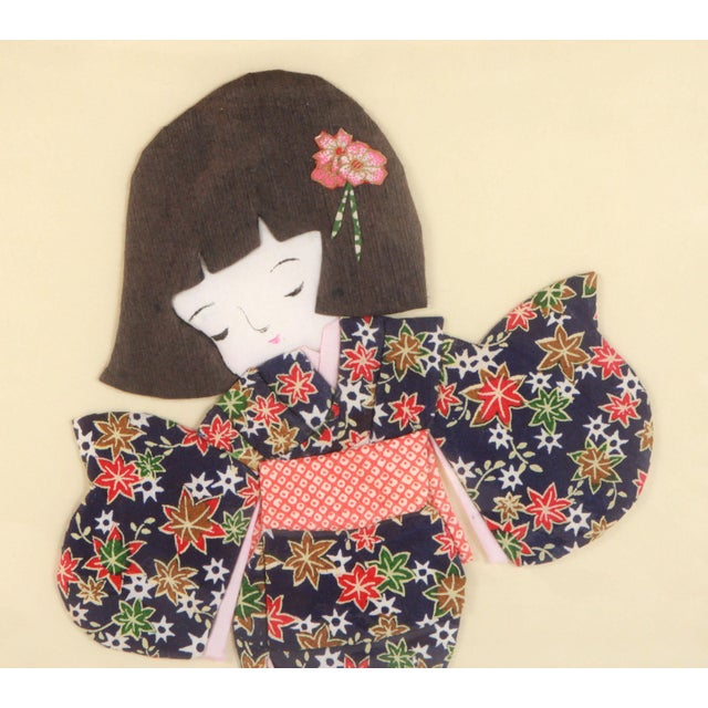 Absolutely beautiful vintage Japanese folded & cut paper collage depicting a young girl in a kimono playing soccer! Great...
