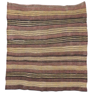 1940's Vintage Turkish Striped Kilim Rug, Square Rug, 4′5 × 4′8 For Sale