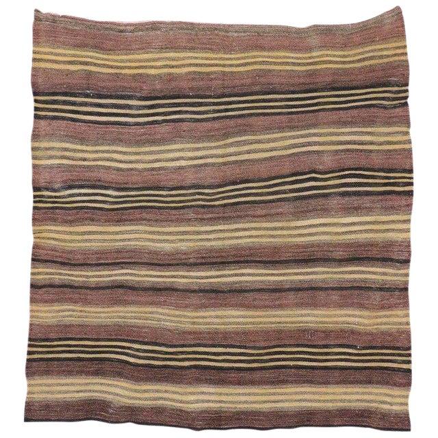 Vintage Turkish Striped Kilim Rug, Square Rug - 4′5 X 4′8 For Sale