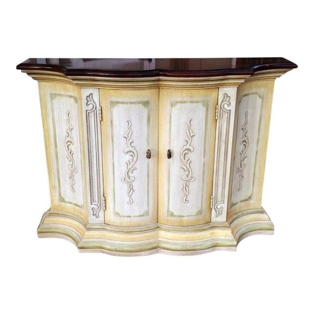 1970s Mediterranean Drexel Heritage Et Cetera 2 Door Painted Console Cabinet For Sale