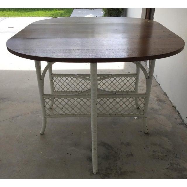 Wicker & Oak Drop-Leaf Dining Table For Sale - Image 5 of 10