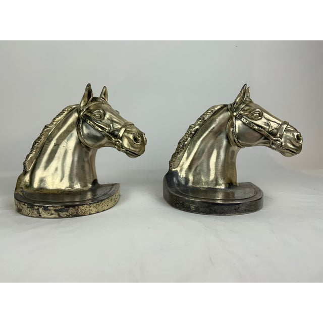 Silver Silver Horse Head Bookends - a Pair For Sale - Image 8 of 13