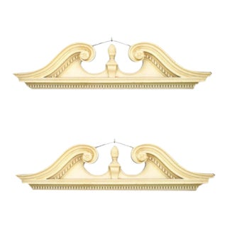 English Georgian White Broken Pediment Cornices- a Pair For Sale