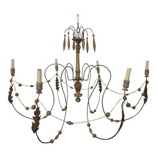 19th Century Italian Giltwood and Iron 6 Arm Chandelier For Sale
