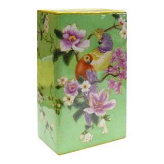 Porcelain Green Rectangular Parrot Flower Vase