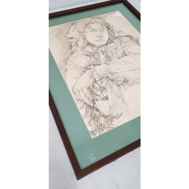 Vintage Pen and Ink Portrait of a Young Man For Sale - Image 4 of 6