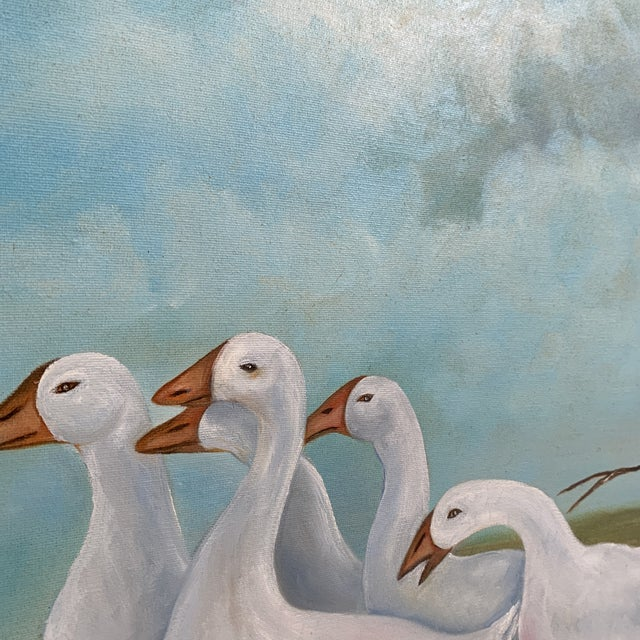 """Mid 20th Century Vintage """"Girl Herding Geese"""" Signed Oil on Canvas Framed Painting For Sale - Image 5 of 7"""