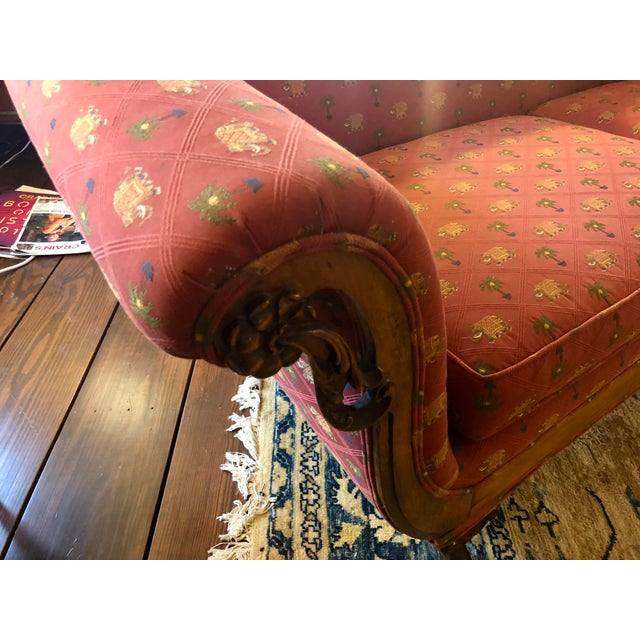 Antique Red Elephant Upholstered American Sofa For Sale In Chicago - Image 6 of 9