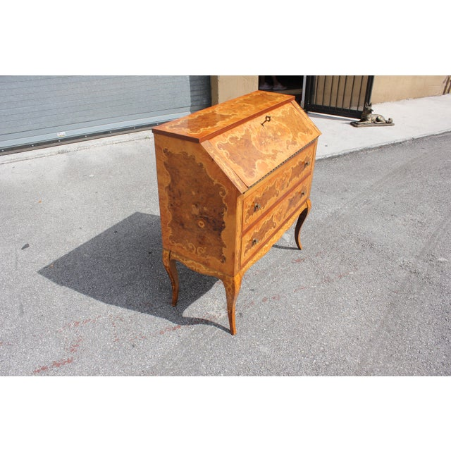 Italian 1950s Italian Louis XV Style Luxury Secretary Desk For Sale - Image 3 of 13