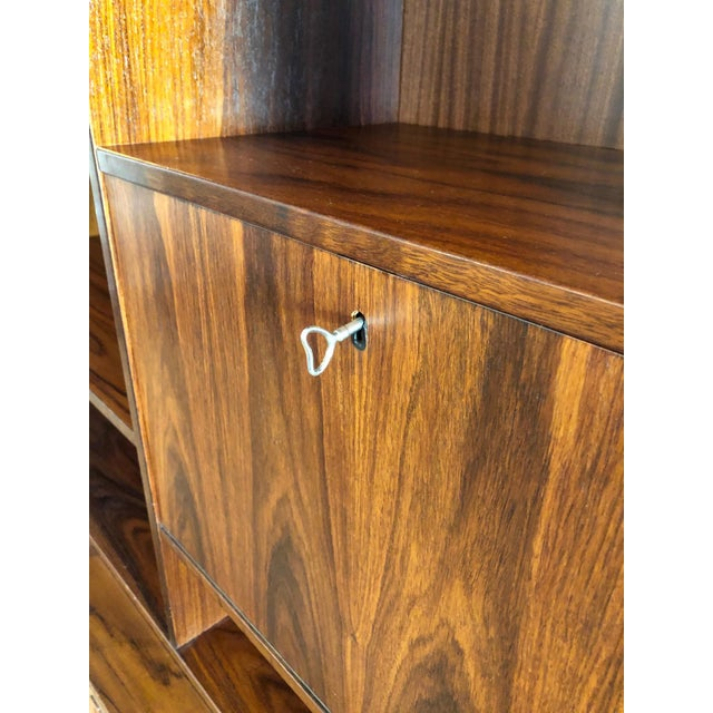 Danish MCM Rosewood 2 Piece Display/Credenza With Drop Leaf Bar For Sale - Image 10 of 13