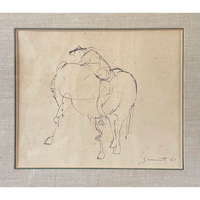 Vintage Framed 1961 Walter Quirt Mid Century Modern Graphite on Paper Surrealist Horse and Rider. Signed and dated lower...