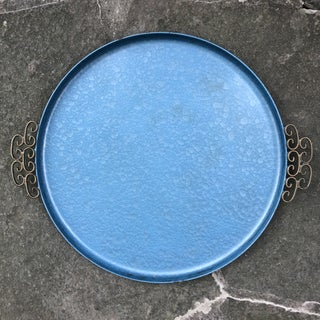 Kyes Mid-Century Blue Moire Glaze Round Tray Preview