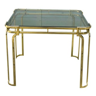 Hollywood Regency Smoky Glass Top and Brass End Table For Sale
