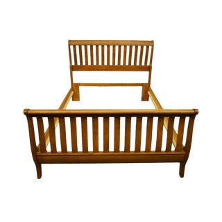 Keller Furniture Traditional Country French Solid Oak Queen Size Sleigh Bed For Sale