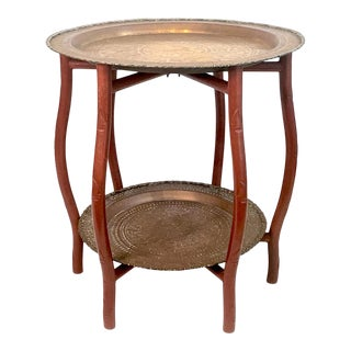 Vintage Chinese 2-Tiered Faux Bamboo Engraved Brass Folding Tea or Tray Table For Sale