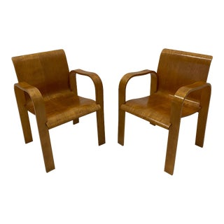 Molded Plywood Mid Century Modern Armchairs -Pair For Sale