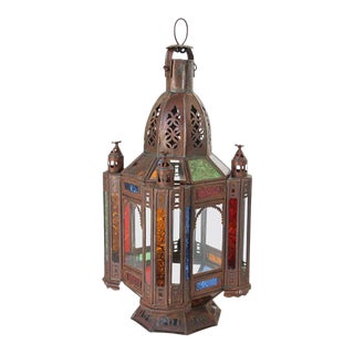 Moroccan Moorish Tole and Glass Candle Lantern For Sale