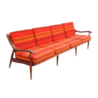 "1950's Vintage Folke Ohlsson Style ""Sunset"" Mid-Century Danish Modern Teak Four Seat Sofa For Sale"