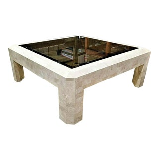 Mid-Century Maitland Smith Tessellated Stone & Glass Coffee Table For Sale