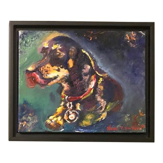 """Happy Dog"" Original Puppy Hound Dachshund Oil Painting For Sale"