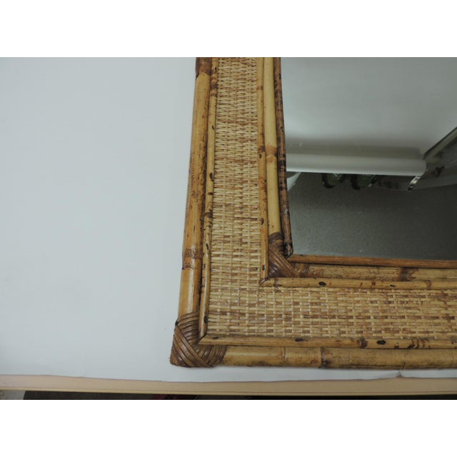 Vintage Rectangular Bamboo Mirror With Rounded Top For Sale - Image 4 of 6