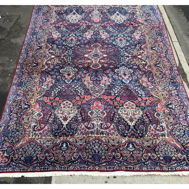 Palatial Antique Persian Carpet With Red Border, Blues, Reds, Creams, Kermin For Sale - Image 4 of 13