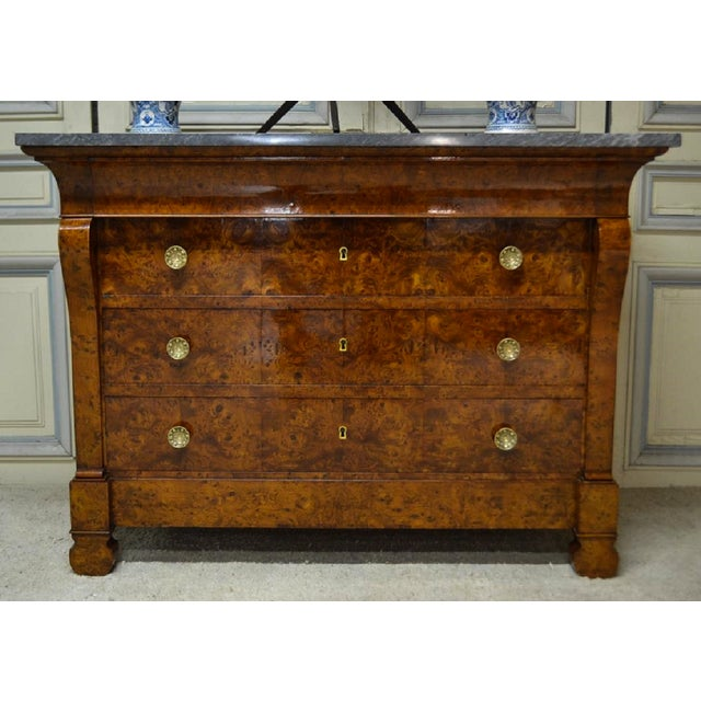 Wood Restauration Period Burl Elm 4 Drawer Commode For Sale - Image 7 of 7