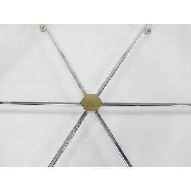 Maison Jansen Style Chrome Brass & Glass Hexagon Coffee Table For Sale In New York - Image 6 of 8