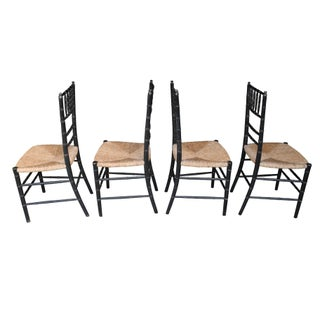 Set of Four Faux Bamboo Wood and Rush Decorative Chairs Preview