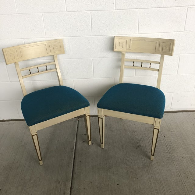 1960s Vintage Klismos Style Greek Key Dining Chairs- A Pair For Sale - Image 11 of 11