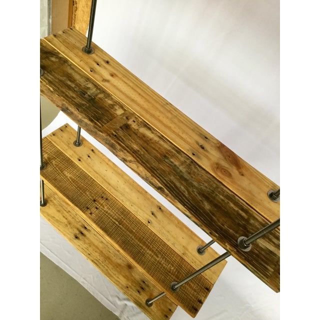 Industrial Tall Recycled Wood and Metal Rod Adjustable Bookcase Shelf For Sale In Boston - Image 6 of 12