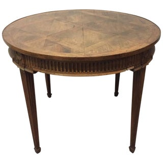 French Parquetry Top Walnut Center Table For Sale
