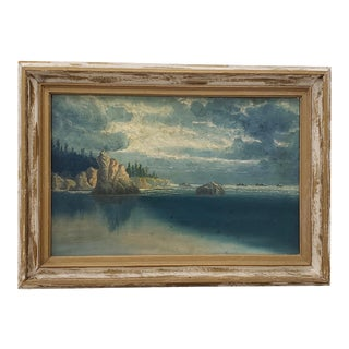 Northwest Rugged Coast Landscape Oil Painting by Chas R. Hall C.1924 For Sale