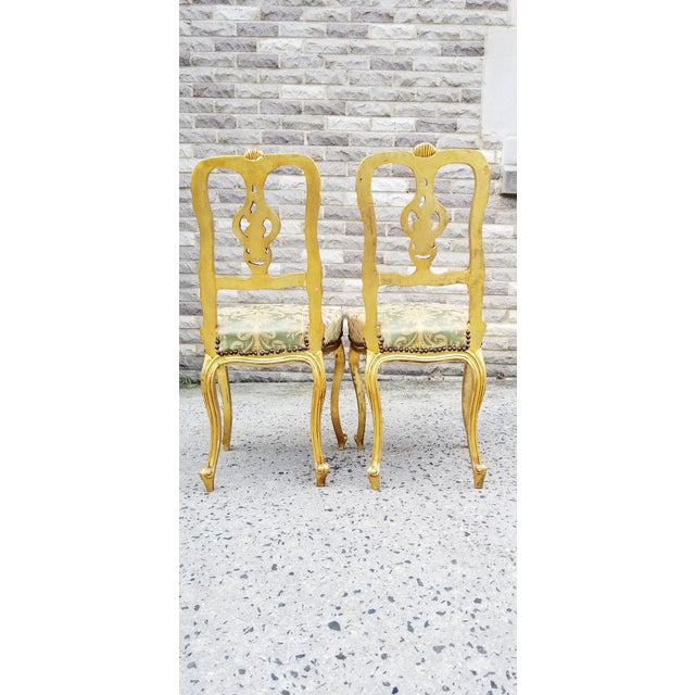 Antique French Louis XV Style Rococo Giltwood Parlor Chairs-A Pair For Sale - Image 4 of 11