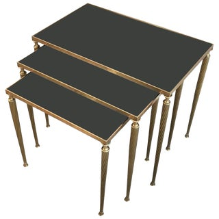 1940s Neoclassical Black Glass and Brass Nesting Tables - Set of 3 For Sale