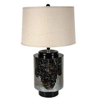 Mid-Centuy Modernist Reverse Eglomisé Mirrored Table Lamp with Chrome Fittings For Sale