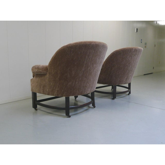 Midcentury Mohair Barrel Club Chairs For Sale In New York - Image 6 of 8