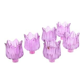Lavender Tulip-Shaped Chandelier Glass Globes - Set of 6