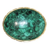 Image of Vintage Malachite and Brass Scalloped Edge Oval Dish For Sale