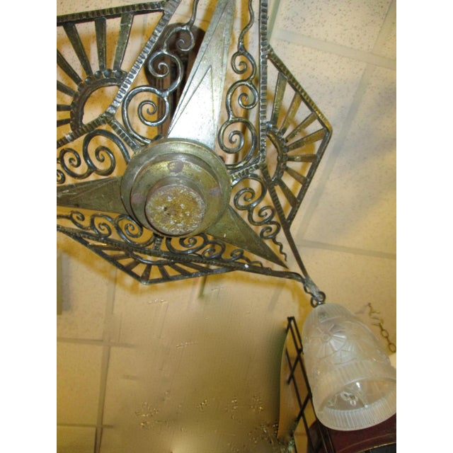 Art Modern French Wrought Iron 3-Light Chandelier For Sale - Image 4 of 9