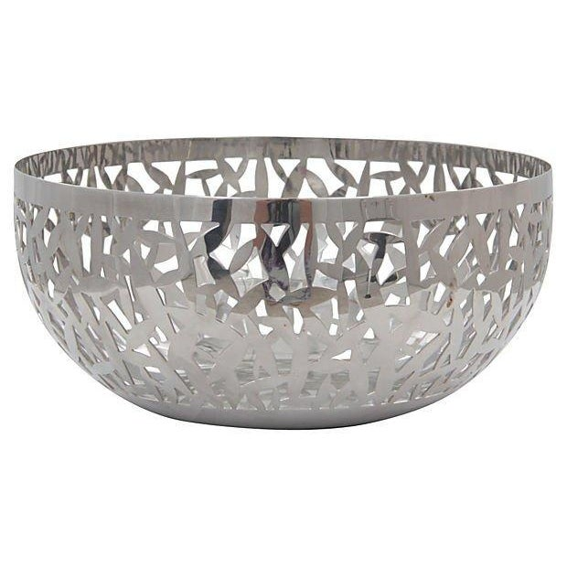 """Vintage polished stainless steel """"Cactus"""" fruit bowl by Marta Sansoni for Alessi, Italy. Light wear. Markings on bottom...."""