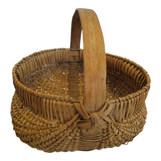 1800s Antique Appalachian White Oak Wood Woven Rib and Split Basket For Sale