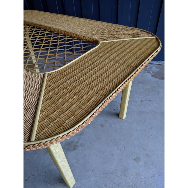 Henry Link Rattan Wicker Chippendale Dining Table For Sale - Image 10 of 12
