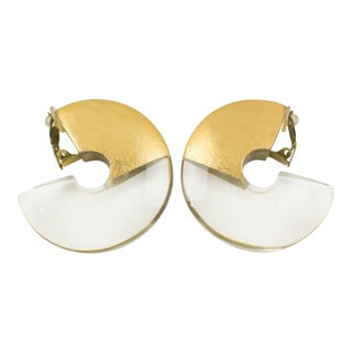 Gerda Lyngaard for Monies Oversized Hoop Clip Earrings Crystal Lucite Gold Foil For Sale